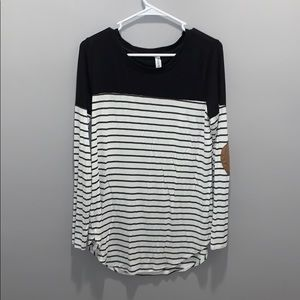Long sleeved striped tee with suede elbow patches